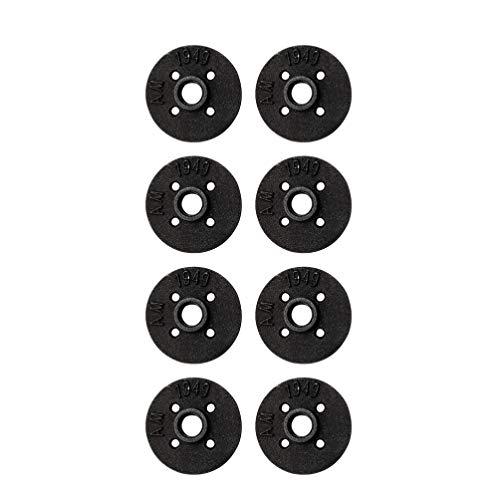 Scicalife 8 Piezas Piso Brida de Hierro Fundido Piso Tubería Roscada Accesorio Industrial Gris Oscuro Steampunk Vintage Retro Accesorios de Tubería