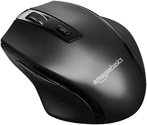 Amazon Basics - Ergonomische kabellose Maus - DPI einstellbar - Schwarz