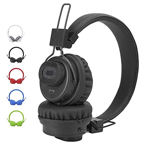 Auriculares Bluetooth sobre Oreja, Auriculares inalámbricos Control de Aplicaciones TF TARD FM Radio Auriculares para teléfonos celulares, TV, PC y Viajes (Azul: Rojo) YXF99 (Color : Black)