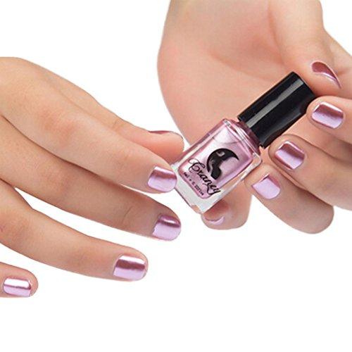 Hunpta Spiegel-Nagellack Plattieren Silberpaste Metall Farbe Edelstahl Spiegel Silber Nagellack für Nail-Art