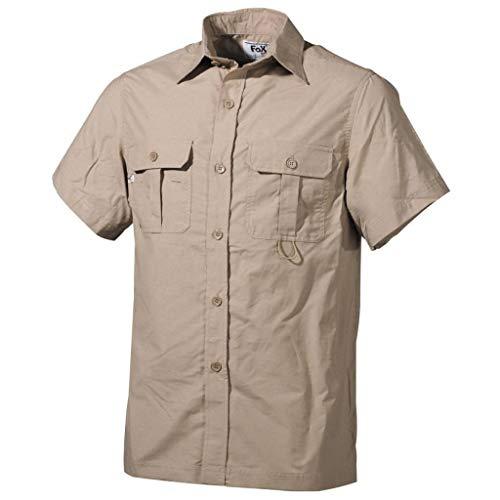 Outdoor Hemd, kurzarm, khaki, Microfaser, 2 Brusttaschen, Größe XXL