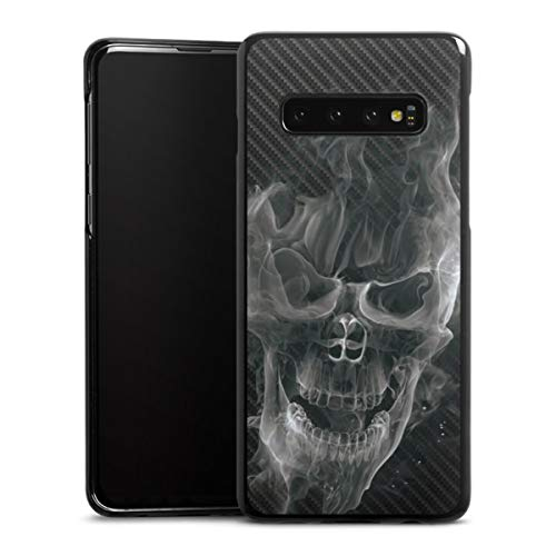 DeinDesign Hard Hülle kompatibel mit Samsung Galaxy S10 Schutzhülle schwarz Smartphone Backcover Totenkopf Schädel Rauch