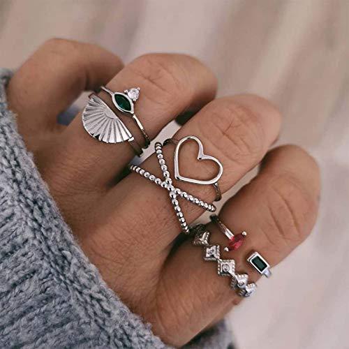 TseenYi Boho - Juego de anillos para nudillos con forma de corazón, plata apilable, anillos de mano, para mujeres y niñas (patrón 2)