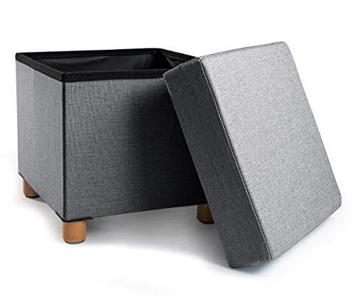 Zedelmaier Sitzhocker Sitzwürfel mit Stauraum Fußbank Truhen Aufbewahrungsbox faltbar belastbar bis 300 kg, Füße aus Massivholz Deckel abnehmbar (Hell Grau)