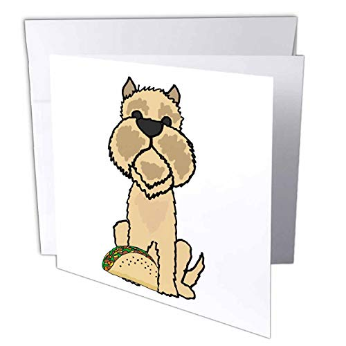 3dRose Funny Cute Brussels Griffon Puppy Dog Eating Taco Food Cartoon - Greeting Cards (gc_326727_5)