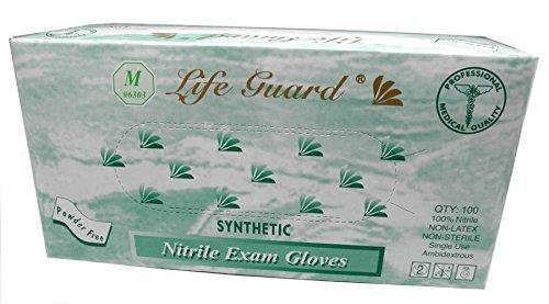 Life Guard 6303 Exam Gloves, Nitrile, Powder-Free, Medium, Blue (Pack of 100)