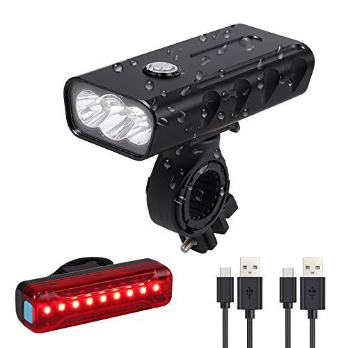 Justech Lumières Rechargeable 3LEDs 1000LM Super Lumineux 3 en 1 Multifonction Étanche Lampe de Phare de Vélo de Montagne/Route Lampe de Poche de Sécurité+Feu arrière Rouge de Vélo