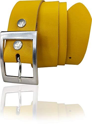 FRONHOFER Cinturón de mujer de 4 cm, cinturón de piel auténtica, hebilla plateada 17575 amarillo curry X-Large