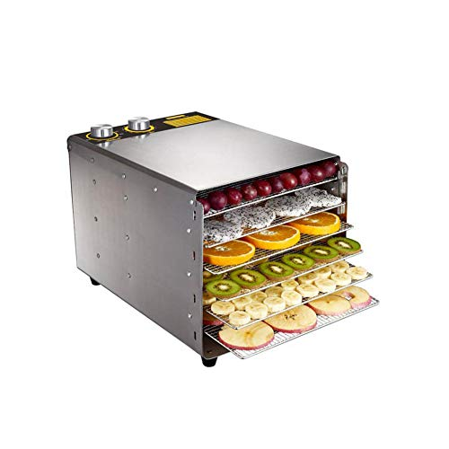 Read About Food dryer with timer 30~90°C, 6 stainless steel trays, meat and dried fruit dehydrator