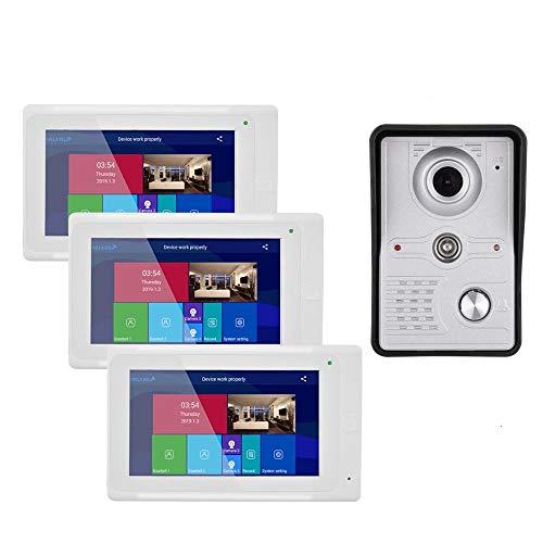 KEDUODUO 7 Pollice 3 Monitor Wireless WiFi Videocitofono Videocitofono Sistema di Citofono del Videocitofono con Cablata HD 1080P Telecamera Cablata Visione Notturna, Supporto App Remota