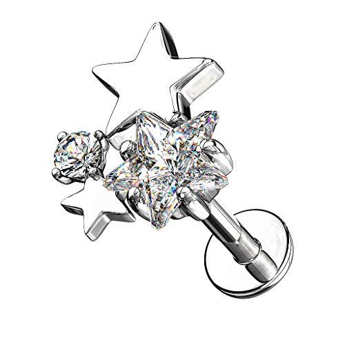 Piercingfaktor Piercing Stab mit Kristall Sterne Lippe Ohr Labret Tragus Helix Knorpel Stecker Lippenpiercing Ohrpiercing Silber 6mm