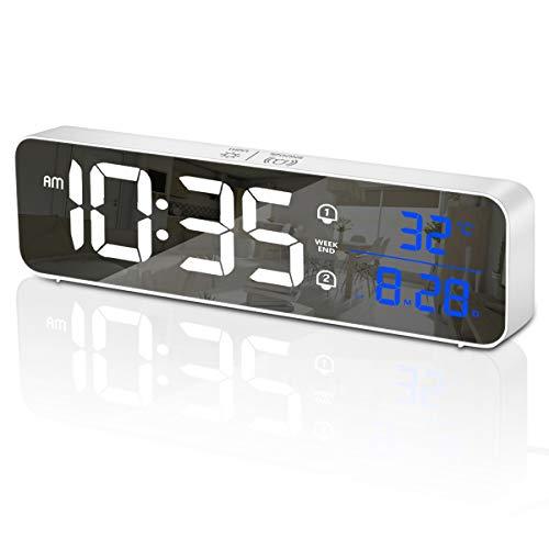 HOMVILLA Digitaler Wecker LED Digitaluhr mit Temperaturanzeige Tragbarer Spiegelalarm Tischuhr mit 2 Alarmen 40 Alarmtöne USB Wiederaufladbar 5 Helligkeit und Lautstärke Regelbar 12/24 Stunden