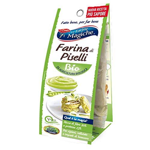 Le Farine Magiche Farina di Piselli Bio, Senza Glutine, ricca di Fibre, Proteine e Vitamine, ideale per Vellutate, Ripieni e Impasti di benessere, Confezione da 100 g