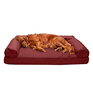 Furhaven Pet Dog Bed – Orthopedic Quilted Traditional Sofa-Style Living Room Couch Pet Bed with Removable Cover for Dogs and Cats, Wine Red, Jumbo