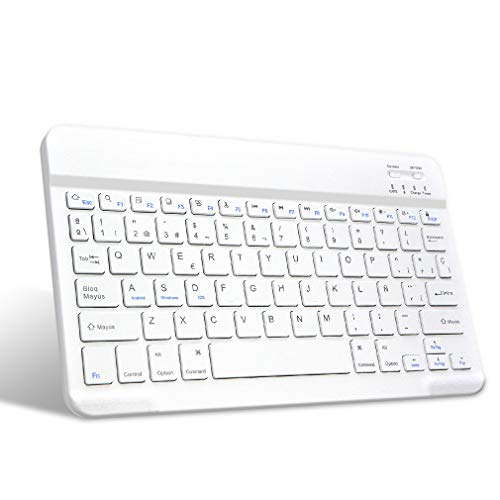 HOTLIFE Teclado Español Inalámbrico Bluetooth, Teclado [QWERTY Español] Teclado Bluetooth 3.0 Ultra Delgado con Batería Recargable, Sistemas de iOS, Android, Windows (Blanco)