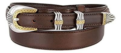 Silver and Gold Buckle Set Oil-Tanned Genuine Leather Western Ranger Belt for Women