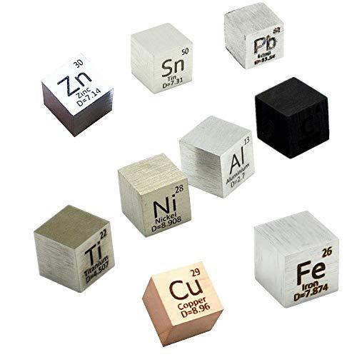 9 PCS Element Cube Set 10mm Density Cubes Up to 99.99% Pure Daily Metal Cubest Titanium Carbon Lead...