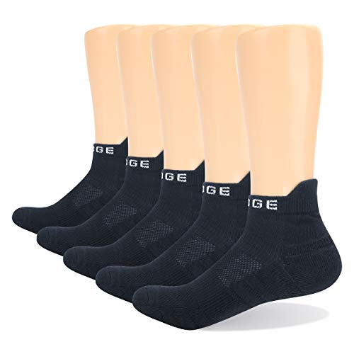 YUEDGE 5 Pares Unisex Calcetines de Deporte Low Cut para Hombre Calcetines Cortos Transpirable, Tobilleros, Deportivos, Fitness, Tenis, Correr, Uso Diario (L)
