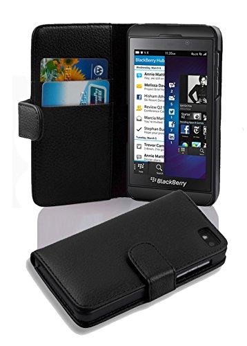 Cadorabo Hülle für BlackBerry Z10 in Oxid SCHWARZ – Handyhülle aus Strukturiertem Kunstleder mit Standfunktion & Kartenfach – Hülle Cover Schutzhülle Etui Tasche Book Klapp Style