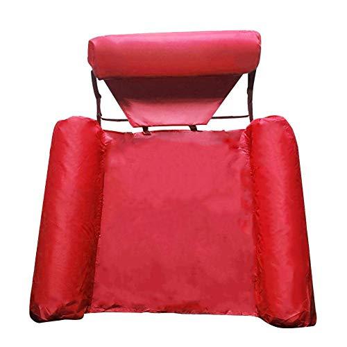 Terynbat Aufblasbare Netz-Hängematte, faltbare Rückenlehne mit doppeltem Verwendungszweck Ohne Schaumstoff (rot)