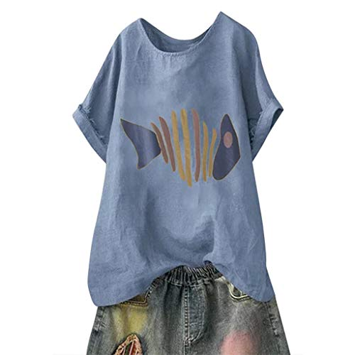TOTOD Women T-Shirt Tops, 2019 Latest Short Sleeve Cotton Linen O-Neck Fish Bone Print Blouse Plus Size Top Pullover (Blue,XXL)