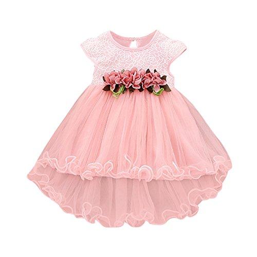 FRAUIT Kleid Mädchen Kinder Blumenkleid Prinzessin Party Hochzeit Tüll Kleider Taufkleid Blumenmädchen Festlich Kleid Kleinkind Festzug Kleidung