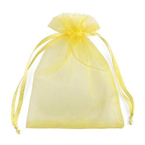 50 piezas 24 colores varios tamaños bolsas de joyería de organza bolsa de regalo de boda de Navidad dibujable-Limon amarillo_Los 5x7cm