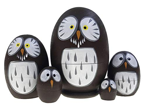 Alrsodl Mini Brown Owl Nesting Doll Lovely Egg Shape Animal Theme Wooden Matryoshka Russian Doll Handmade Stacking Toy Set 5 Pieces for Kids Girl Gifts Home Decoration