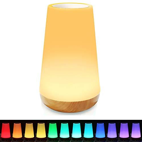 LED Nachtlicht, Dimmbar Nachttischlampe Baby Nachtlicht 13 Farben Touch mit Fernbedienung, Tragbare USB Aufladbar Nachtlicht Kinder Stimmungslicht für Kinderzimmer, SchlafZimmer, Wohnräum, Camping