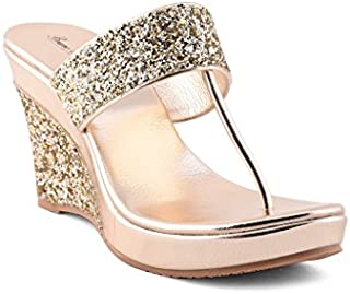 Bruno Manetti Women's Golden Faux Leather Wedges