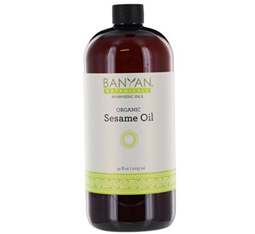 Banyan Botanicals Sesame Oil – Organic & Unrefined Ayurvedic Oil for Skin, Hair, Oil Pulling & More – Multiple Sizes – 34oz. – Non GMO Sustainably Sourced Vegan