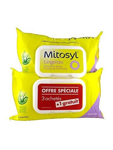 Mitosyl Lingettes Nettoyantes et Apaisantes Lot de 4 x 72 Lingettes