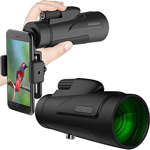 12X50 Prisma de alta potencia Monocular y adaptador rápido para teléfono inteligente - Alcance impermeable a prueba de niebla a prueba de golpes - Prisma FMC para observación de aves Caza Camping Via