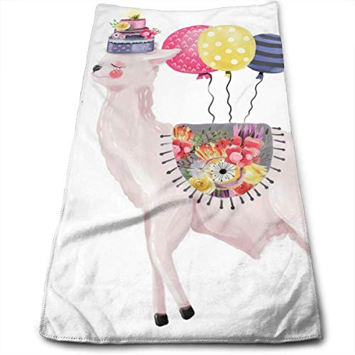wteqofy Cute Watercolor Dreaming Llama Bath Hand Towels Dish Cloth Machine Washable Kitchen Towels Tea Towels for Drying Cleaning Cooking Baking