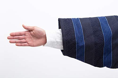 桑野新研産業『刺し子柄綿入れはんてん男性用ドビー織』
