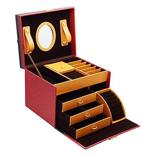 Arkmiido Caja de joyería, Organizador de Joyas para Mujeres, Joyeros de Viaje para Mujer, Joyero Lock con Espejo y Cerradura. (25X20X20cm)