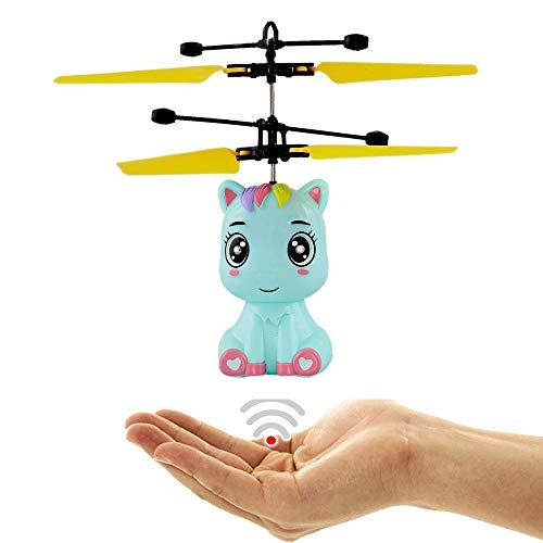 Fliegendes Einhorn Baby Babyblau Blau - Pegasus - Unicorn mit Heller LED Beleuchtung Einfach zu Steuern mit der Hand Der Hit auf jeder Party Tolles Spielzeug für kleine und große Girls