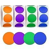 2000 Stücke Klebepunkte Bunt Punktaufkleber Aufkleber Etiketten Markierungspunkte für Büro, Aufbewahrung Beschriftung 500 Stücke/ Rolle, 25mm Lila, Blau, Grün, Orange