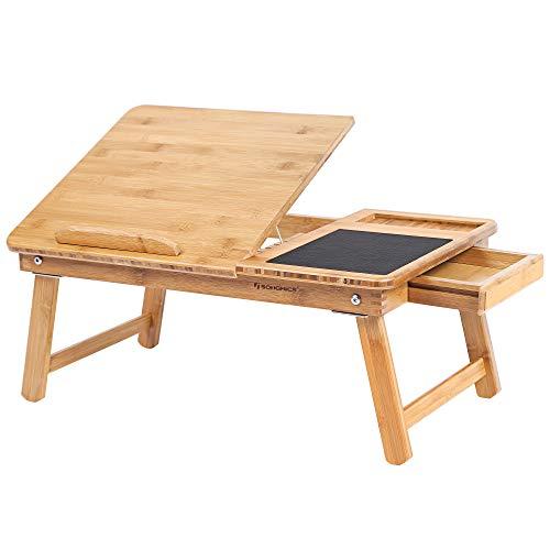 SONGMICS Tavolino Pieghevole per PC Portatile da Letto e Divano in bambù Naturale con Piano Inclinabile Piccolo Cassetto e Tappetino per Mouse 55 x 35 x 23 cm LLD008
