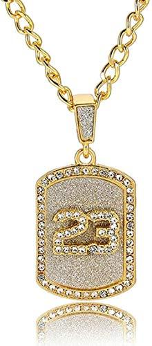 LBBYLFFF Collar Hip Hop Crystal Basketball Legend Número 23 Pandents Collar Bling Gold Collar de Cadena Cubana Joyería Feliz para Hombre Niño Collar de Regalo