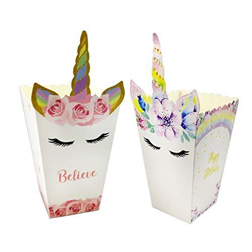 24PCS Sacs de Pop-Corn Licorne (2Type) Popcorn Boîtes à Bonbons Sachet de Pop-corn Petits Sacs à Bonbons Sacs en Carton pour Goûter Boîtes pour Fête Anniversaire Mariage Licorne à Thème Party Supplies