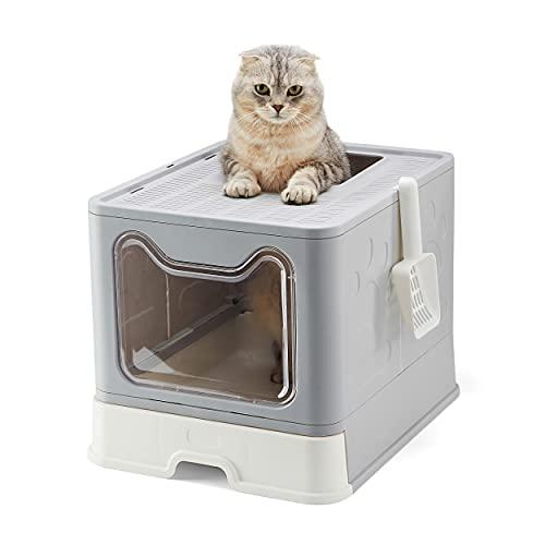 Suhaco Bac à Litière Pliable pour Chat, Grande Maison de Toilette Chat avec Couvercle, Bac de Portable Tiroir et Pelle à Litière (Gris)