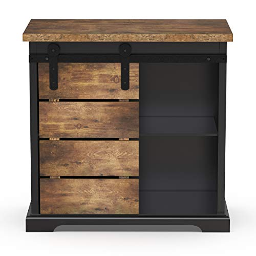 NSdirect Sideboard Buffet Storage Cabinet, Modern Farmhouse Sliding Barn Door Storage Credenza Console with Slat and Shelf Entryway Bar Kitchen Dining Storage Cabinet Living Room,Black and Brown