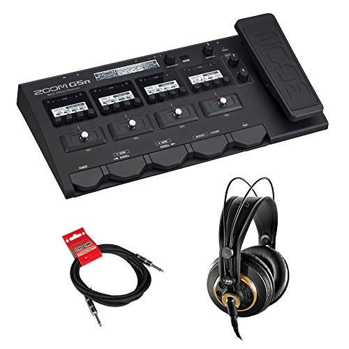 Zoom G5n Guitar Multi-Effects Processor with AKG K 240 Stereo Headphones & 10ft Instrument Cable Bundle