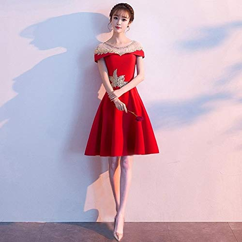 Handaxian Apliques Vestido de Noche Vestido Chino Moderno Encaje Patchwork Cheongsam