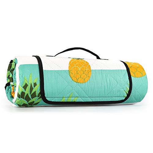 Sekey 200 x 200 cm Coperta Picnic Impermeabile, Pieghevole Portatile Coperta da Spiaggia Tappeto per Picnic Outdoor Giardino Campeggio (200 x 200 cm, Verde Ananas)