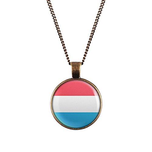 WeAreAwesome Luxemburg Flagge Halskette - Länderkette mit Fahne Anhänger Unisex Kette Unisex Kette