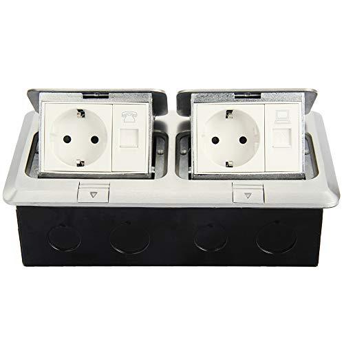 Funey Enchufe empotrable para suelo, 2 enchufes + 1 red + 1 cable de teléfono, enchufe retráctil para suelo, para mesa, oficina, encimera de restaurante