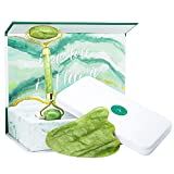 Jade Roller and Gua Sha Set w/Fridge Case - 100% Natural Jade Stone Roller & Gua Sha - Video Tutorial & Ebook Included - Real Jade Roller for Face
