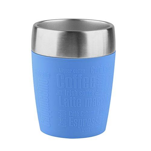 Emsa 514515 TRAVEL CUP tasse isotherme, mug avec couvercle, revêtement silicone, 200ml, Bleu maritime